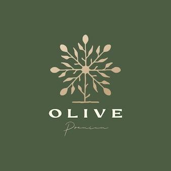オリーブの木の洗練された美的ロゴのテンプレート
