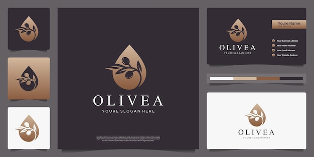 Olive tree and water drop logo design and business cards.