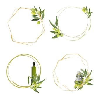 フルーツの丸いフレームまたは花輪とオリーブオイルのボトルがセットされたオリーブの木。招待状、ありがとうカード、ラベル、広告、ベクターイラスト