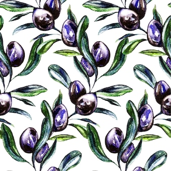 Olive watercolor seamless pattern.