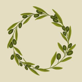 Olive wreath frame vector illustration