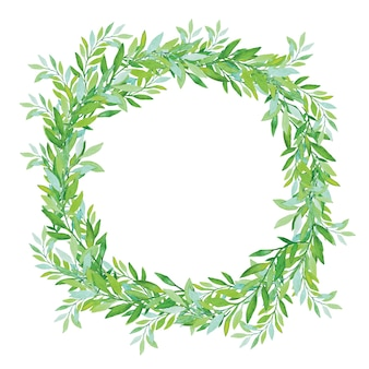 白い背景で隔離のオリーブの花輪。緑茶の木の葉。