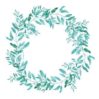 올리브 화 환 흰색 배경에 고립입니다. 녹차 나무 잎.