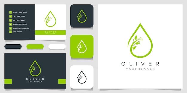 Оливер логотип и шаблон дизайна визитной карточки