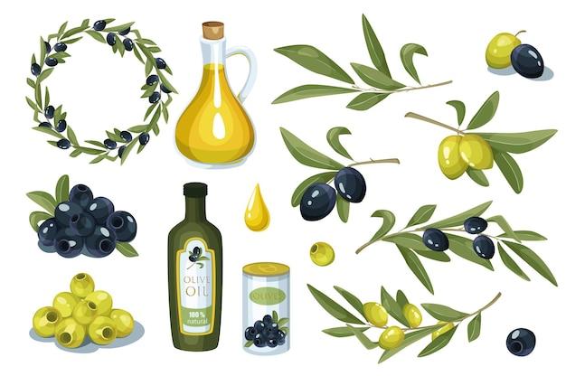 Набор элементов дизайна оливок и масла. сбор плодов разного цвета оливок, масла в бутылке или кувшине, венок и листья и веточки. векторная иллюстрация изолированные объекты в плоском мультяшном стиле