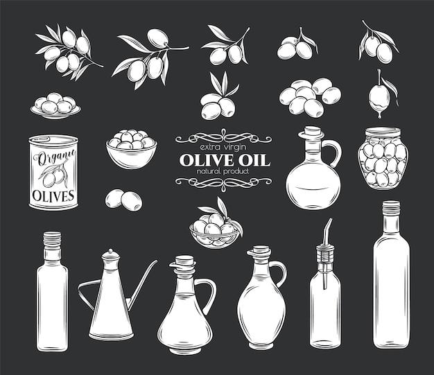 Набор иконок глифов оливок и оливкового масла. изолированные ветки деревьев, стеклянная бутылка, кувшин, металлический дозатор с маслом. ретро стиль, иллюстрация.