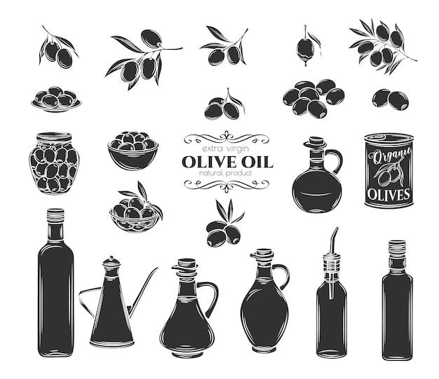 オリーブとオリーブオイルのグリフアイコンを設定します。孤立した木の枝、ガラス瓶、水差し、オイル付きの金属ディスペンサー。レトロなスタイル、イラスト。