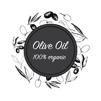 イタリア料理のデザインのためのオリーブの枝と果物とオリーブのアレンジメント