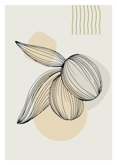 Olives art floral posters in trendy colors. abstract hand drawing flowers and geometric elements and strokes, leaves and flower.