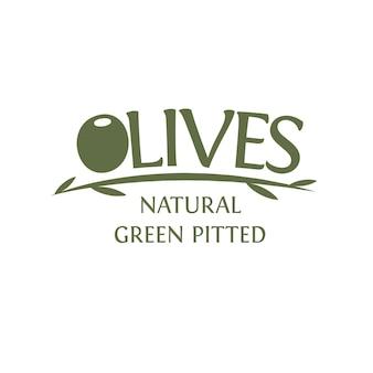 Оливковая ветвь с листьями векторный шаблон эмблемы натуральный зеленый без косточек оливковый простой дизайн логотипа