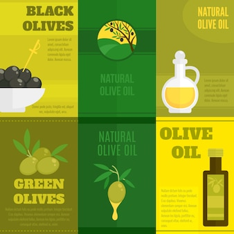 Olives illustration with text template set