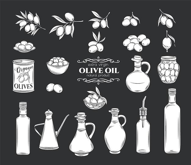 Olives and olive oil glyph icons set. isolated tree branches, glass bottle, jug , metal dispenser with oil. retro style, illustration.
