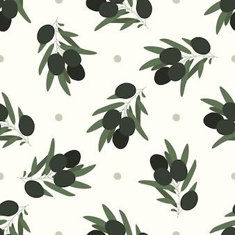 Образец оливок. бесшовный узор рисованной из свежих оливок. абстрактные черные и зеленые оливки. веточка оливы. векторная иллюстрация.