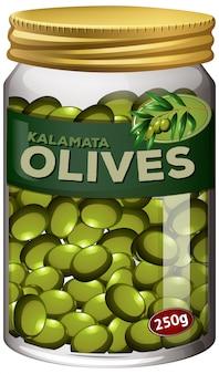 Conserva di olive in vaso di vetro