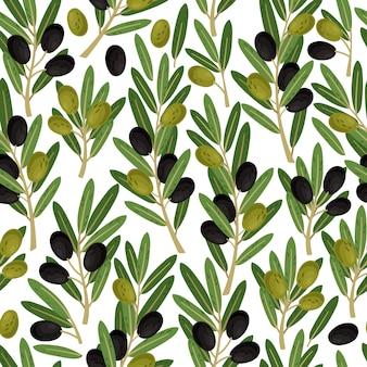 オリーブのシームレスなパターン。果実とオリーブの枝と自然緑ベクトルテクスチャー