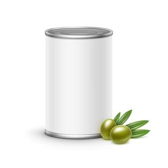 オリーブ缶包装。白い背景の上の図