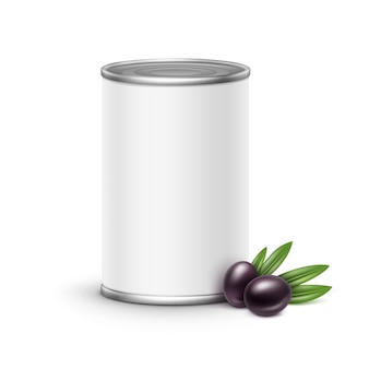 Olives tin can packaging.  illustration  on white background