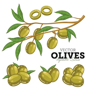 Olives with leaves,
