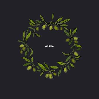 Olives wreath. graphic texture illustration in grunge style. vintage design