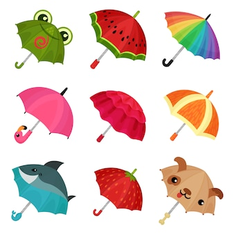 Ollection of cute colorful umbrellas  illustration on a white background