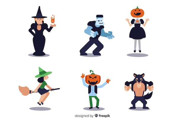 Ollection of halloween character on flat design