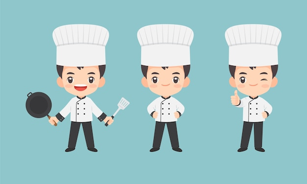 Ollection of kawaii chef character