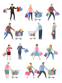 Сollection of people carrying shopping bags with purchases.