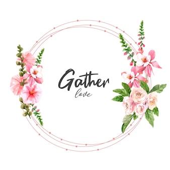 バラの水彩イラストを登るollyと花の庭の花輪。
