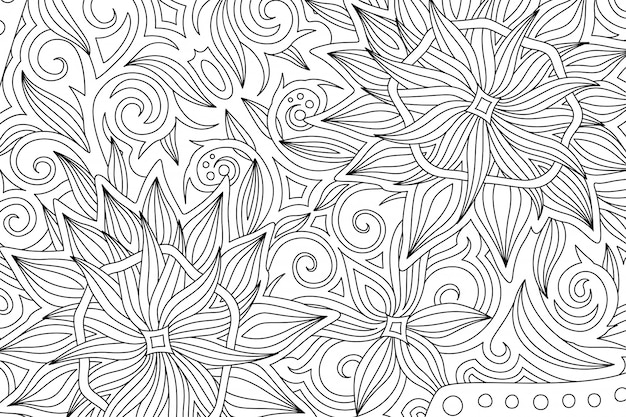 Ð¡oloring book page with monochrome floral pattern