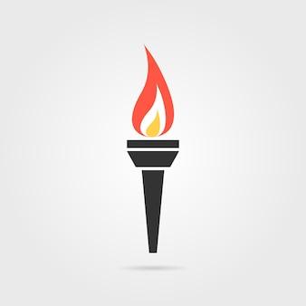 그림자 있는 올림픽 불꽃 아이콘입니다. 우승, 콘테스트, 팀워크, 장식, 불타는 횃불의 개념. 회색 배경에 평면 스타일 트렌드 현대 올림픽 불꽃 로고 그래픽 디자인 벡터 일러스트 레이 션