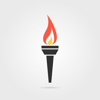 Olympic flame icon with shadow. concept of winning, contest, teamwork, decoration, flaming torch. flat style trend modern olympic flame logotype graphic design vector illustration on gray background