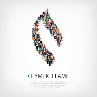 Olympic flame people  3d