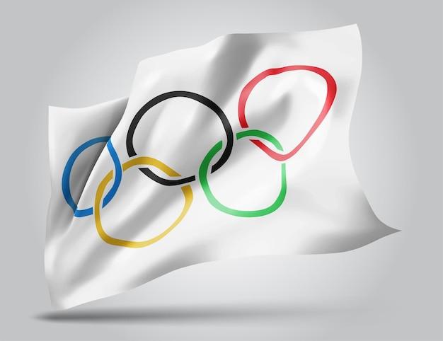 白い背景で隔離のオリンピックベクトル3dフラグ