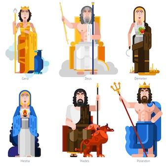 Olympic gods decorative icons set