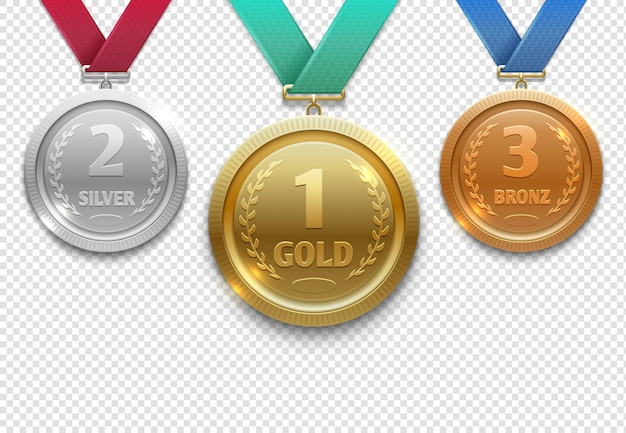 Olympic gold, silver and bronze award medals, winner honor prize set