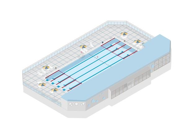 흰색에 고립 된 국제 경쟁을위한 올림픽 크기의 수영장
