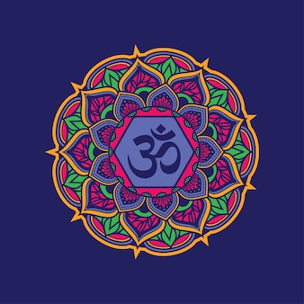 Красочный орнамент мандалы с символом om.