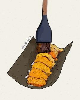 오마 카세 유니 (omakase uni)-일본 전통 음식 인 말린 해초의 신선한 달콤한 유니 사시미. 손 그리기 스케치.