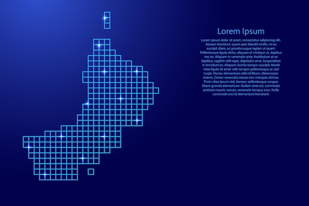 青いモザイク構造の正方形と輝く星からのオマーンの地図のシルエット。ベクトルイラスト。