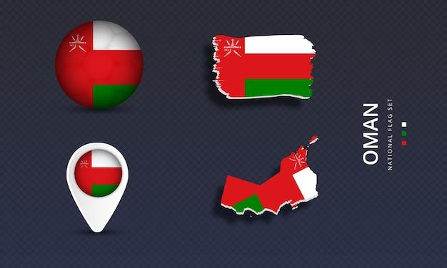 Oman national country wave flag set