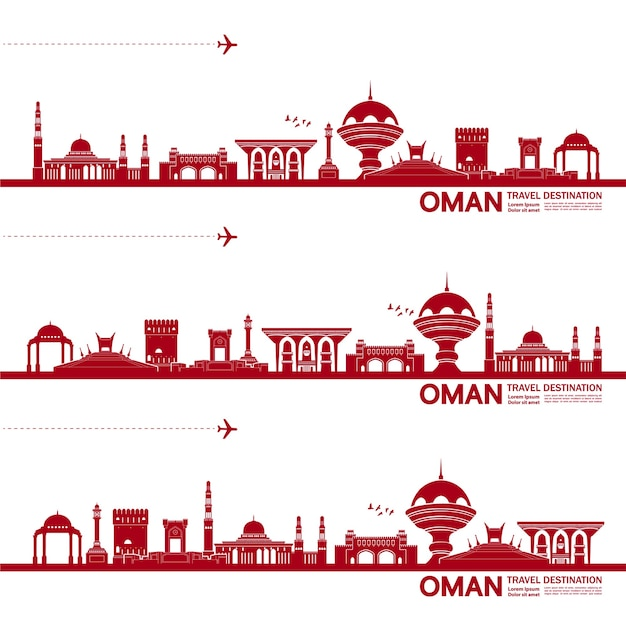 Oman travel destination   illustration.