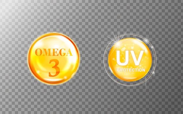 투명 배경에 고립 된 오메가 3 및 자외선 보호