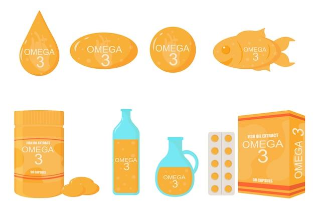 フラットスタイルのオメガ3アイコン。魚、油瓶、錠剤カプセル、ソフトジェル錠剤、現実的なイラスト。ポスター、バナーの栄養オメガ3組成物。ビタミン欠乏薬。