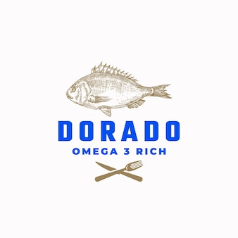 Segno astratto di pesce omega 3 rich dorado