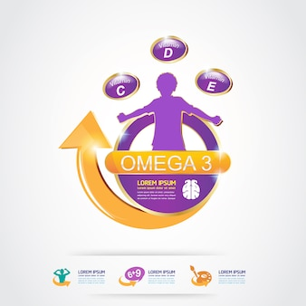 Omega 3 vitamins for product for kids logo concept