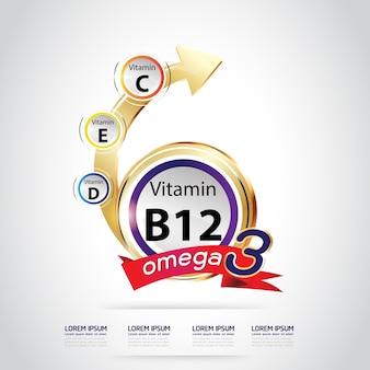 Логотип omega 3 и витамины для детей
