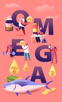 Концепция жирных кислот омега. мультфильм плоский иллюстрация