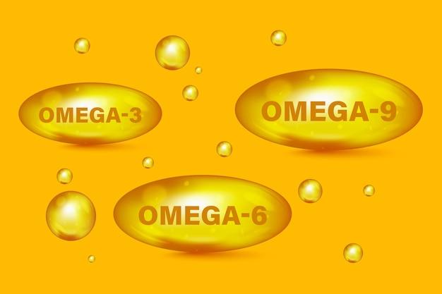 オメガ脂肪酸、epa、dha。ビタミンドロップピルカプセルオメガ-3、オメガ-6、オメガ-9。多価不飽和脂肪。天然魚。脂肪酸オイルドロップアイコン、有機ビタミン、栄養素