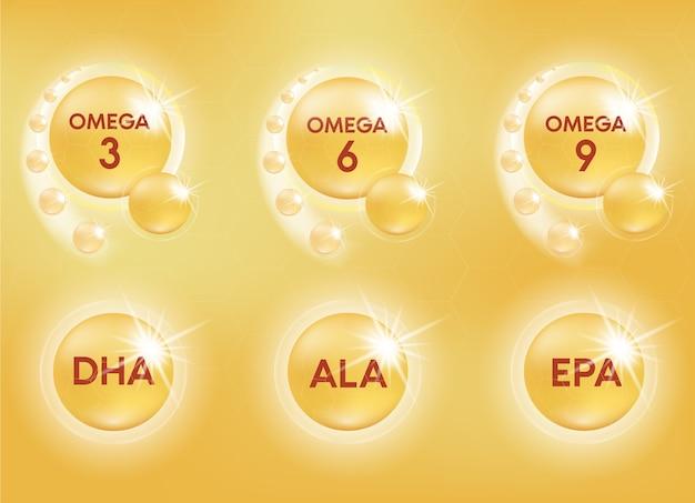 오메가 영양소는 알약 캡슐을 떨어 뜨립니다. 빛나는 황금 에센스 방울. 미용 치료 영양 피부 관리 디자인.