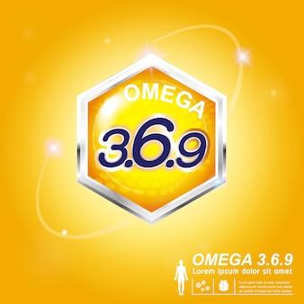 오메가 영양과 비타민-어린이를위한 컨셉 로고 제품.